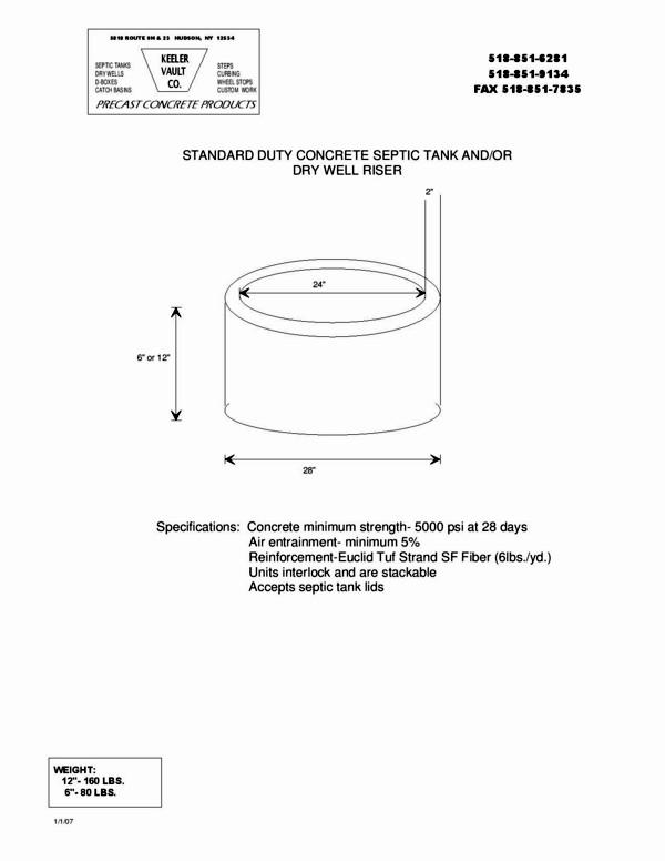 Standard Duty Concrete Septic Tank/Dry Well Riser | Keeler Precast